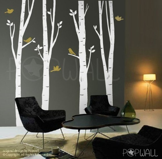 Birch tree wall decal bird wall decal office wall decal by for Birch tree wall mural