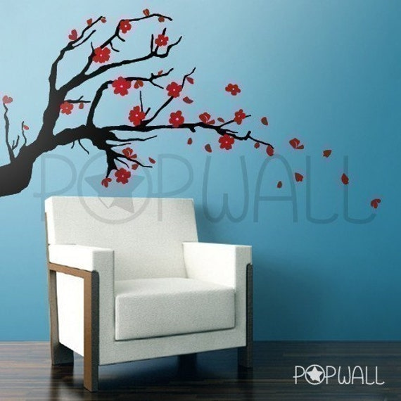 Wall Art Decals Cherry Blossom : Vinyl wall sticker decal cherry blossom branch by nouwall