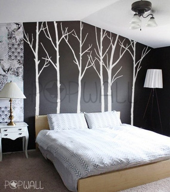 Vinyl Wall Decal Sticker Art - Winter Trees - set of 6 trees with 10 FREE FLYING BIRDS - 036