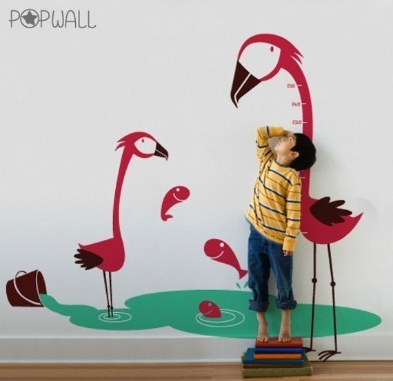 Flamingoes Wall decal, Fishes ,kids,  Animal, Growth Charts Wall decals wall Sticker -Wall graphic 042