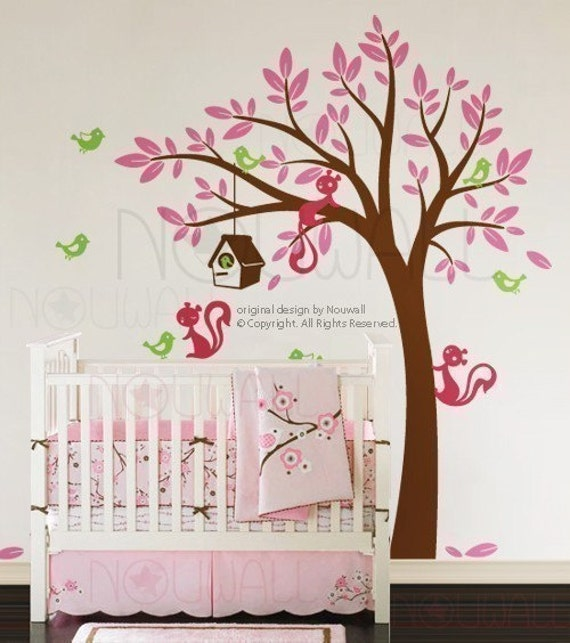 NEW DESIGN - Swaying Tree Bird House with Squirrel Friends - 095 - Vinyl Sticker Wall Decal for Girl Boy Nursery