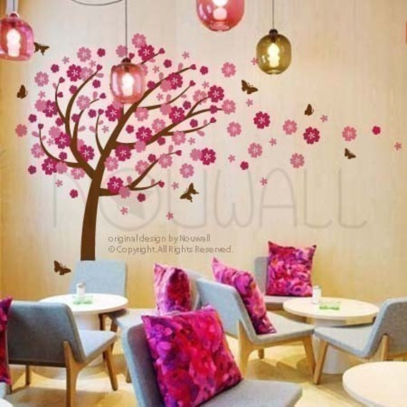 NEW DESIGN - Windy Flowery Tree with Dancing Butterflies (large) - 094 - Vinyl Sticker Wall Decal for Girl Boy Nursery