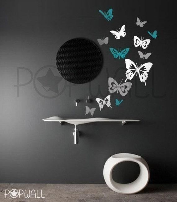 Butterflies set of 13 in 3 colors vinyl wall sticker decal - 025