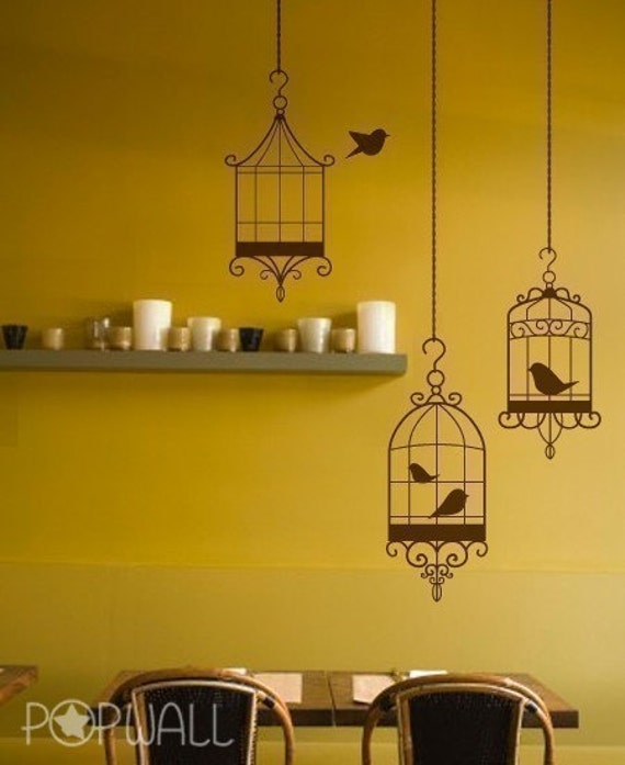 Bird Cages Wall Decal, Living Room, Animal Wall Decals, Wall Sticker Art ,Wall Graphic- 009