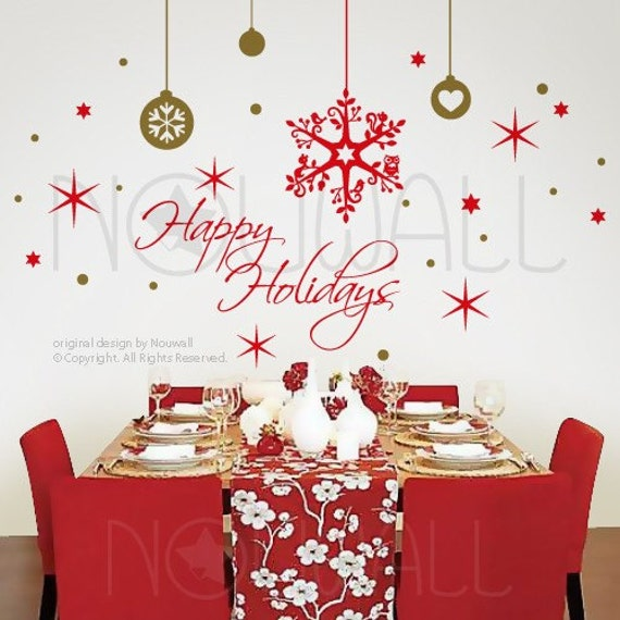 Christmas wall decal snow flakes words quote holiday by for Christmas wall mural plastic