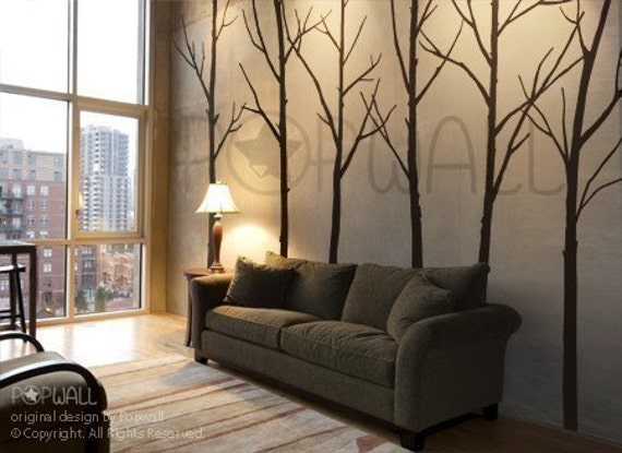 Winter tree wall decal living room wall decals wall by nouwall for Black tree wall mural