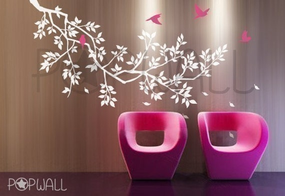 Free Shipping -Vinyl Spring Tree Branch with birds Wall Decal Wall Sticker, furniture- wall decor 039