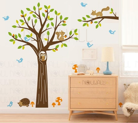 Woodland Tree Wall decal - Children, Nursery, Baby, squirrel, Hedgehog Wall Decal Wall Sticker,Wall Decor- 103