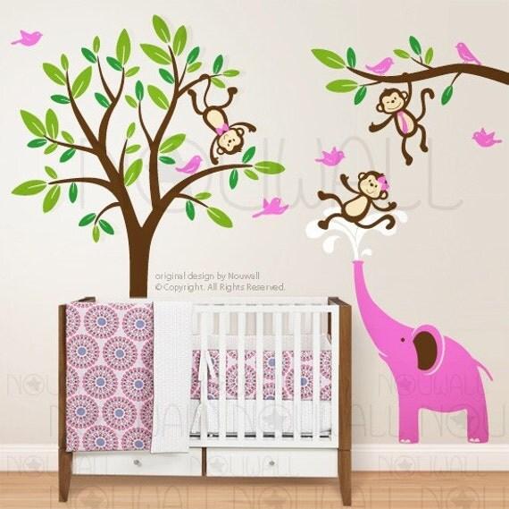 Monkeys & Elephant Wall Decal ,Tree, Children, Kid ,Nursery Wall decal wall sticker -home decor  - 105