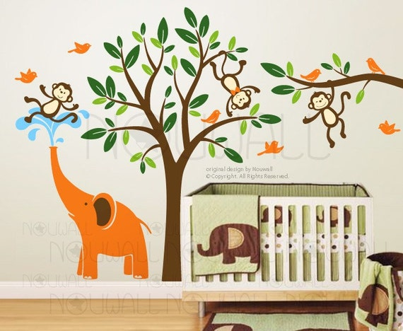 Children Tree Wall Decals - Monkeys , elephant Wall decal Wall Sticker 105