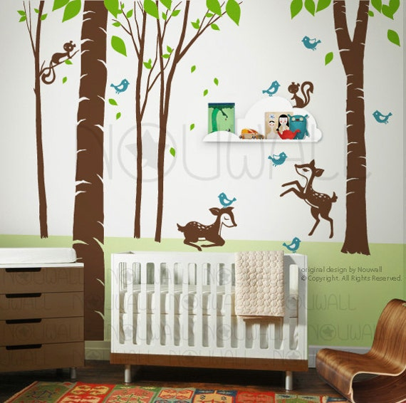 Art Wall Sticker Wall Decals Tree Decal -Woodland animal decal - 106