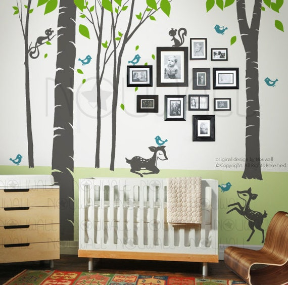 Fantasy Woodland Tree Wall Decal, squirrel, Nursery, fawn Wall Decal Wall Sticker Art, Wall Graphic 106