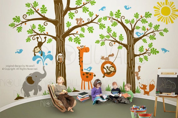 Wall Decals Wall Sticker, children , kids, animal, decal wall, Tree Wall Decal Wall Sticker 107