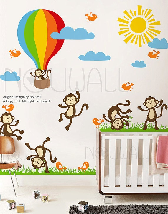 Vinyl Wall Decal Wall Sticker Kids Decal - Sunny Day Monkey on Grass, hot air balloon