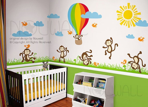 Wall decal wall sticker nursery decal monkey hot air balloon for Baby room sticker decoration