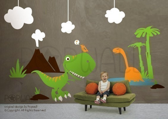 Dino land dinosaurs wall decal children kid wall decal wall for Dinosaur land wall mural