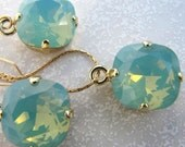 Swarovski Pacific Opal Square Rhinestones Earrings and Necklace Set