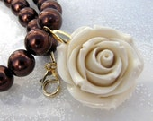 Chocolate Pearls And white Coral Rose Flower Necklace
