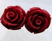 Red Coral Rose Flower Stud Earrings