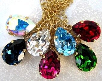 Swarovski Fuchsia necklace earrings set pear-shaped stone