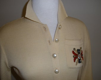 Vintage Wool Sweater with Crest  XXS