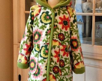 Pinwheel Parade Pnk/Grn Double Layered Fleece Coat with Hood