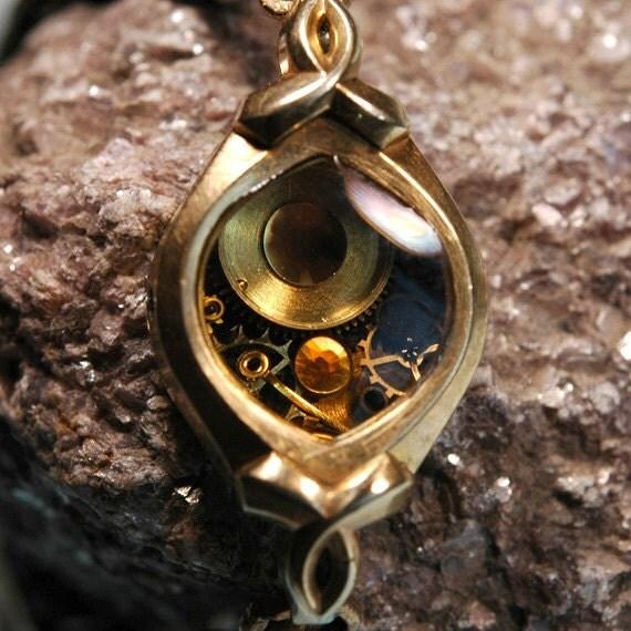 Steampunk Vintage Ladies Watch Part Bracelet Topaz and Amber Crystals