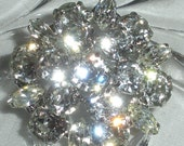 Weiss Vintage Antique Costume Jewelry Round Domed Prong Set Clear Rhinestone Brooch Pin