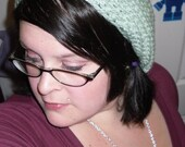 SALE - Gentle Green Crocheted Slouchy Beret - WAS 13-