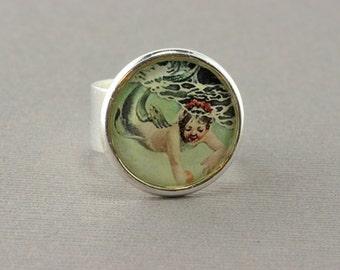Whimsical Little Mermaid Adjustable Ring