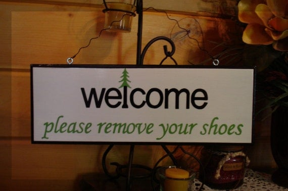 Personalized  Wood Sign. Welcome Please Remove Your Shoes