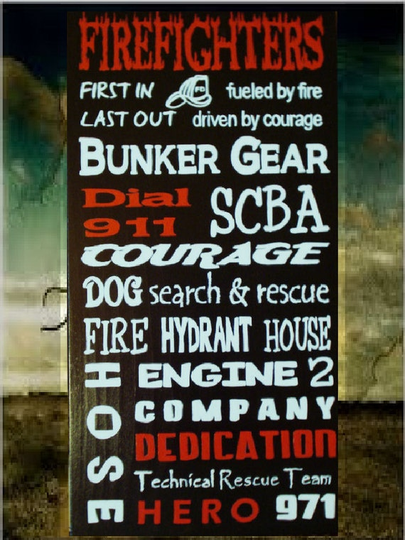 Items similar to home decor personalized custom wood sign firefighter subway sign on etsy - Custom signs for home decor concept ...