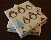 Tile Coasters - Penguins at the Tree Farm