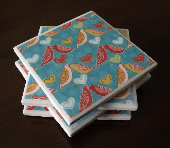 Bird Tile Coasters - Love Birds