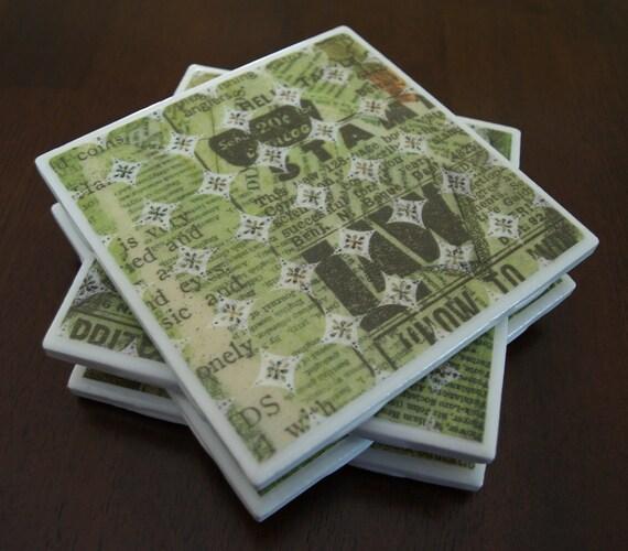 Green Tile Coasters - Polka Dot Newspaper