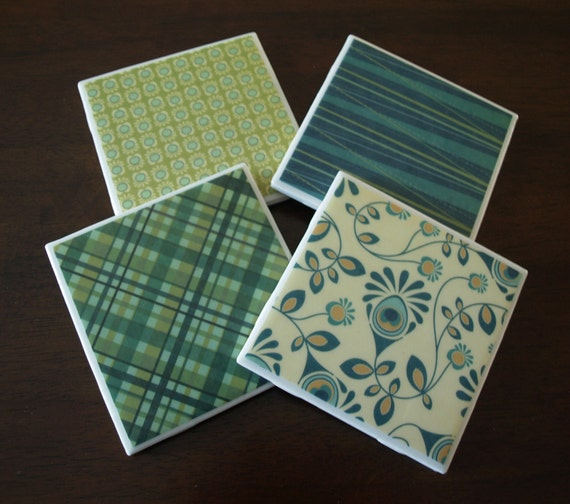 Tile Coasters - Patterns of Green & Blue