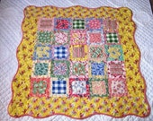 Cottage Style Lap Quilt, Baby Quilt, Throw, Springtime Shabby Chic Feedsack