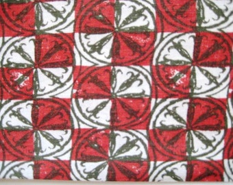 """Vintage Feedsack Fabric, Red, White and Black Check, 15""""x20"""""""