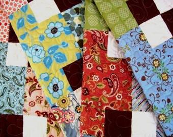 Twin Patchwork Quilt, Lap Quilt, Throw, Contemporary Color Block Quilt