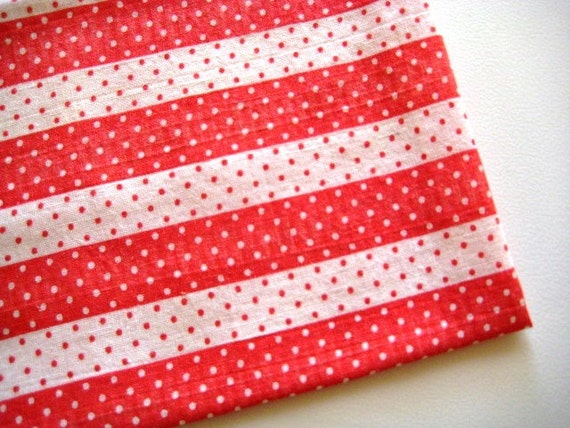"Vintage Feedsack Fabric, Red and White Stripes and Dots, 15""x20"""