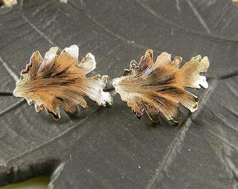 "Vintage Earrings, Silver Tone Pierced Leaf Design: ""Leaf Me Alone'"