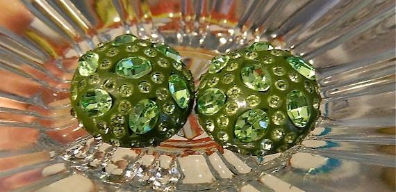Vintage Bakelite Green Rhinestone Space Age Earrings: Atomic Age