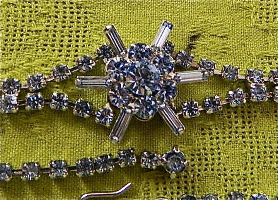 Vintage Necklace and Earring Set, SALE, Blue Rhinestone Choker and Earrings, Star Center: Evening Star