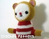 crochet pattern - circus bear amigurumi - yellow kawaii stuffed animal nursery plushie baby shower gift - (instant download)