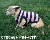 crochet pattern - dog sweater - striped pet chihuahua fashion small shirt pomernian clothes - (instant download)