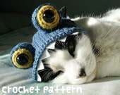crochet pattern - monster pet hat - halloween costume cat blue dragon amigurumi kawaii small dog chihuahua disguise - (instant download)