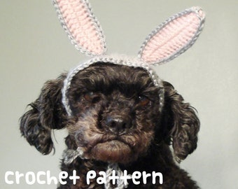 crochet pattern - rabbit pet hat - halloween costume cat amigurumi bunny ears kawaii small dog poodle shihtzu chihuahua - (instant download)