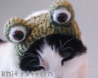 knitting pattern - frog pet hat - halloween costume cat froggy toad amigurumi kawaii small dog chihuahua disguise - (instant download)