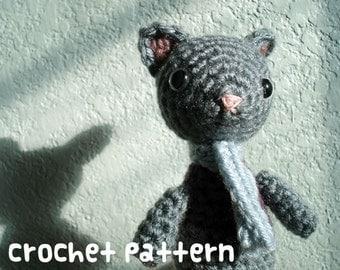 crochet pattern - kitty cat amigurumi - grey stuffed animal kawaii plushie creature toy doll - (instant download)