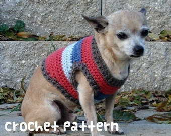 crochet pattern - small dog sweater chihuahua style pomeranian fashion clothes - (instant download)